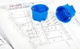 Plano da arquitetura e rolos dos modelos Imagens de Stock