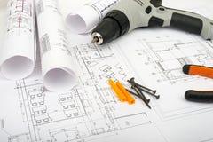 Plano da arquitetura e rolos dos modelos Fotografia de Stock