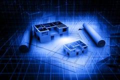 plano da cópia azul da casa da arquitetura 3d Imagens de Stock