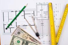 Plano da construção com dinheiro Fotografia de Stock
