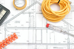 Plano da construção de casa Foto de Stock