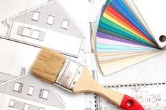 Plano da construção de casa Fotos de Stock Royalty Free