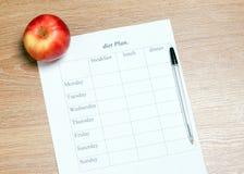 Plano da dieta Imagens de Stock