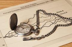 Plano da economia de aposentadoria com relógio Fotos de Stock Royalty Free