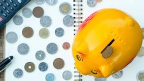 Plano da economia, economia para a aposentadoria, liberdade financeira Imagem de Stock