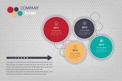 Plano da empresa do espaço temporal & do marco miliário infographic na forma redonda ilustração stock