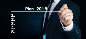Plano 2018 da escrita do homem na tela Imagens de Stock