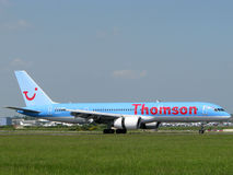 Plano das linhas aéreas de Thomson Fotografia de Stock