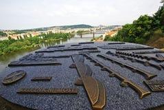 Plano das pontes no rio de Vltava em Praga Imagem de Stock