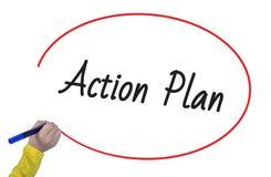 Plano de ação da escrita da mão da mulher com marcador Foto de Stock