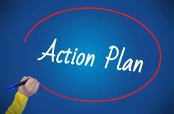 Plano de ação da escrita da mão da mulher com marcador Fotografia de Stock Royalty Free