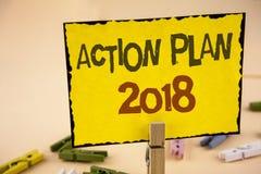 Plano de ação 2018 da escrita do texto da escrita O significado do conceito planeia o desenvolvimento da melhoria dos objetivos d Fotografia de Stock Royalty Free
