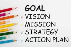 Plano de ação da estratégia da missão da visão do objetivo Foto de Stock