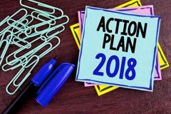 Plano de ação 2018 do texto da escrita O significado do conceito planeia o desenvolvimento da melhoria dos objetivos da vida das  Imagem de Stock Royalty Free