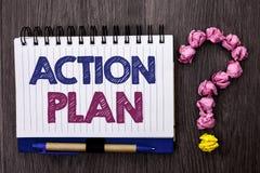 Plano de ação do texto da escrita Objetivo operacional do objetivo da atividade do procedimento do planeamento da estratégia do s Foto de Stock Royalty Free