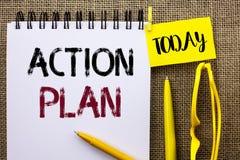 Plano de ação do texto da escrita Objetivo operacional do objetivo da atividade do procedimento do planeamento da estratégia do s Imagens de Stock
