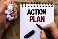 Plano de ação do texto da escrita da palavra Conceito do negócio para o objetivo operacional do objetivo da atividade do procedim Imagem de Stock