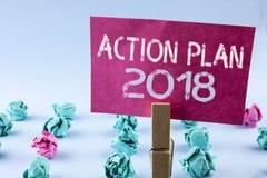 Plano de ação 2018 do texto da escrita da palavra O conceito do negócio para planos visa o desenvolvimento da melhoria dos objeti Imagens de Stock