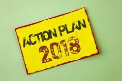 Plano de ação 2018 do texto da escrita da palavra O conceito do negócio para planos visa o desenvolvimento da melhoria dos objeti Foto de Stock