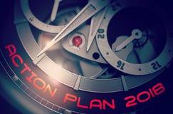 Plano de ação 2018 no mecanismo elegante do relógio de pulso 3d Foto de Stock