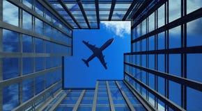 Plano de aire en el cielo stock de ilustración