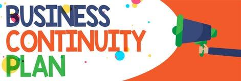 Plano de continuidade de negócios do texto da escrita da palavra O conceito do negócio para criar ameaças potenciais do negócio d ilustração royalty free