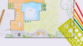 Plano de desenvolvimento do jardim e da associação do quintal Foto de Stock Royalty Free