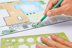Plano de desenvolvimento do jardim e da associação do quintal Fotografia de Stock Royalty Free