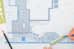 Plano de desenvolvimento do jardim e da associação do quintal do modelo Imagens de Stock Royalty Free