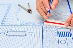 Plano de desenvolvimento do jardim e da associação do quintal do modelo Fotos de Stock