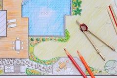 Plano de desenvolvimento do jardim e da associação do quintal para a casa de campo Imagens de Stock Royalty Free