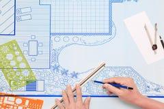 Plano de desenvolvimento do jardim do quintal do modelo para a casa de campo Imagens de Stock Royalty Free