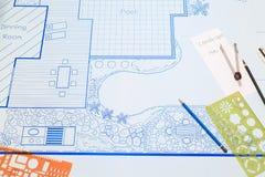Plano de desenvolvimento do jardim do quintal do modelo para a casa de campo Fotos de Stock