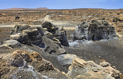 Plano de El Mojon, formations de roche s'approchent de Teguise, Lanzarote, Îles Canaries Photos libres de droits