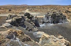 Plano De El Mojon, rockowe formacje zbliża Teguise, Lanzarote, wyspy kanaryjska Zdjęcia Royalty Free