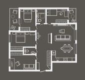Plano de esboço arquitetónico do apartamento de quatro quartos no fundo cinzento Imagens de Stock Royalty Free