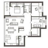 Plano de esboço arquitetónico do apartamento de três quartos Foto de Stock Royalty Free