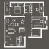 Plano de esboço arquitetónico linear do apartamento de três quartos no fundo cinzento Foto de Stock Royalty Free