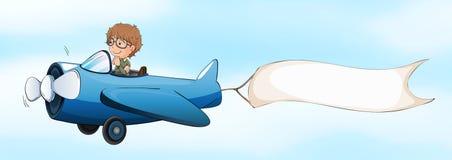 Plano de jato piloto do voo com bandeira branca ilustração royalty free