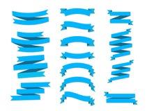 Plano plano de las banderas de las cintas del vector aislado en el fondo blanco Imagenes de archivo