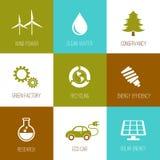 Plano de los iconos de la ecología y de la protección de naturaleza diseñado Fotografía de archivo