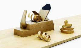 Plano de madeira isolado em um fundo branco 3d rendem os cilindros de image Ilustração Stock
