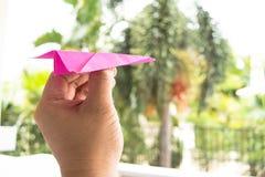 Plano de papel cor-de-rosa do jogo Foto de Stock