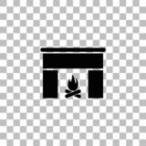 Plano del icono de la chimenea stock de ilustración