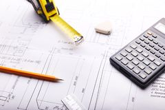 Plano - desenho na tabela imagens de stock royalty free