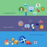 Plano determinado de la bandera del comercio electrónico de las compras Fotos de archivo libres de regalías