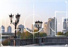 Plano do campo de futebol no fundo de Yekaterinburg Fotografia de Stock