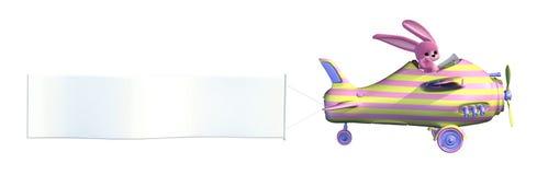 Plano do coelho de Easter com bandeira em branco Fotos de Stock Royalty Free