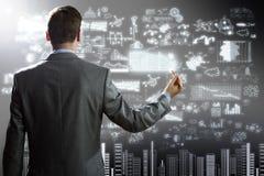 Plano do desenho do homem de negócios Imagem de Stock