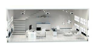 plano do escritório da rendição 3D Fotos de Stock